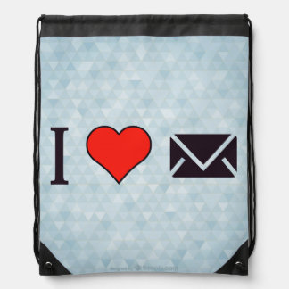 I Heart Closed Envelopes Drawstring Backpack