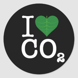 I Heart CO2 Classic Round Sticker