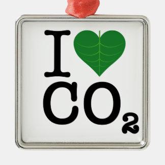 I Heart CO2 Metal Ornament