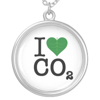 I Heart CO2 Silver Plated Necklace