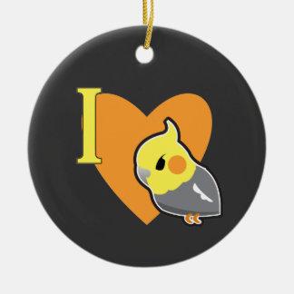 I Heart Cockatiels Ceramic Ornament