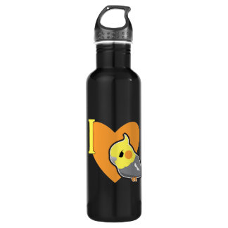 I Heart Cockatiels Stainless Steel Water Bottle