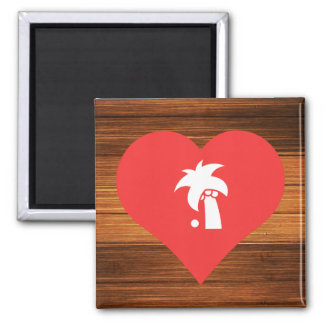 I Heart coconuts 2 Inch Square Magnet