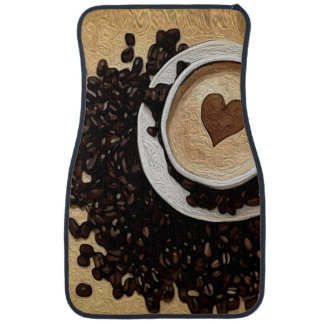 I Heart Coffee Car Mat