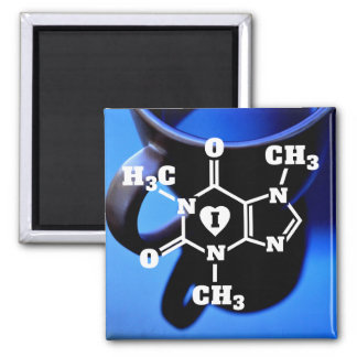 I Heart Coffee Funny Geek Caffeine Molecule 2 Inch Square Magnet