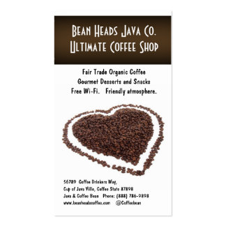 I Heart Coffee!  Heart Shaped Coffee Beans Business Card Template