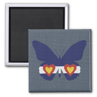 I Heart Colorado Flag Butterfly Products 2 Inch Square Magnet
