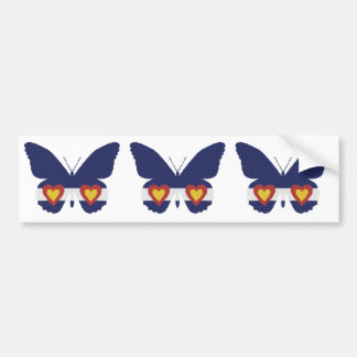 I Heart Colorado Flag Butterfly Products Bumper Sticker