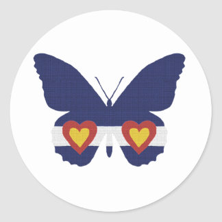 I Heart Colorado Flag Butterfly Products Classic Round Sticker