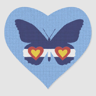 I Heart Colorado Flag Butterfly Products Heart Sticker