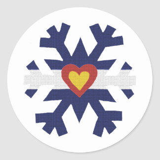 I Heart Colorado Flag Snowflake Classic Round Sticker