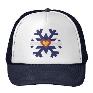 I Heart Colorado Flag Snowflake Trucker Hats