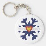 I Heart Colorado Flag Snowflake Key Chain