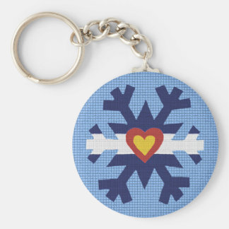 I Heart Colorado Flag Snowflake Keychain
