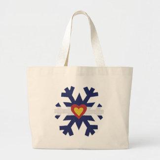 I Heart Colorado Flag Snowflake Large Tote Bag