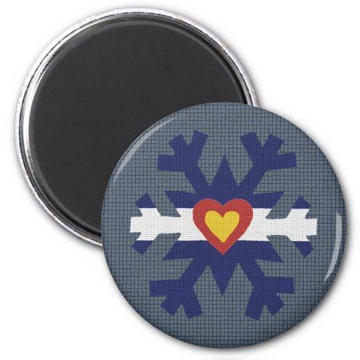 I Heart Colorado Flag Snowflake Magnets
