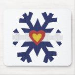 I Heart Colorado Flag Snowflake Mouse Pad