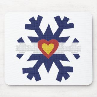 I Heart Colorado Flag Snowflake Mousepad