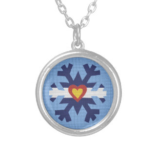 I Heart Colorado Flag, Snowflake Necklace
