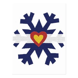 I Heart Colorado Flag Snowflake Postcard