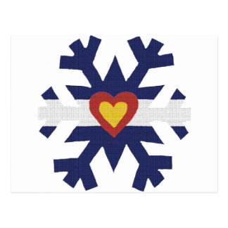 I Heart Colorado Flag Snowflake Postcard