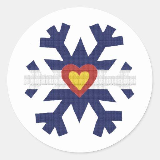 I Heart Colorado Flag Snowflake Round Sticker