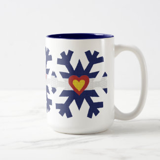 I Heart Colorado Flag Snowflake Two-Tone Coffee Mug