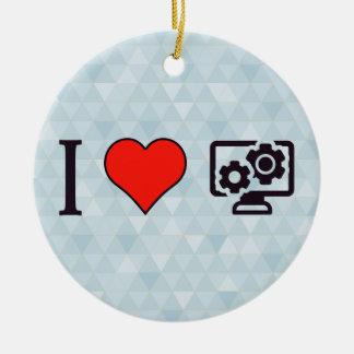 I Heart Computer Configurations Ceramic Ornament