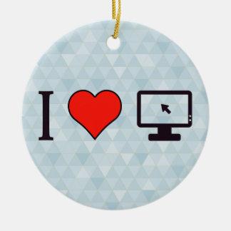 I Heart Computers Ceramic Ornament