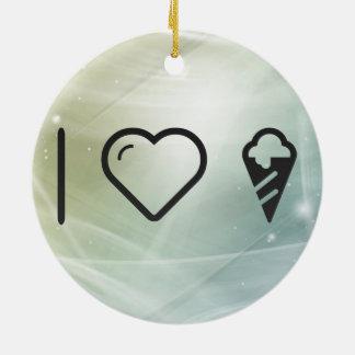 I Heart Cone Icecreams Double-Sided Ceramic Round Christmas Ornament