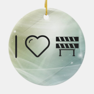I Heart Construction Barriers Double-Sided Ceramic Round Christmas Ornament