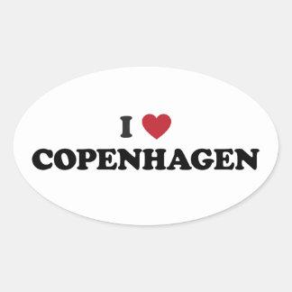 I Heart Copenhagen Denmark Oval Stickers