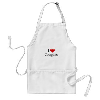 I Heart Cougars Adult Apron