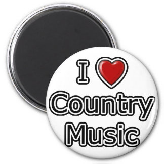 I Heart Country Music 2 Inch Round Magnet