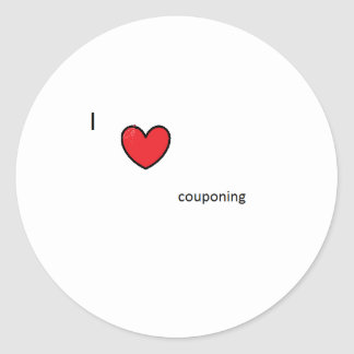 I heart couponing classic round sticker