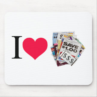 I heart coupons mouse pad