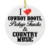 i heart cowboy boots b ceramic ornament