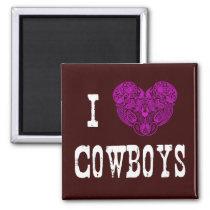 I Heart Cowboys (Pink Paisley Heart) Magnet