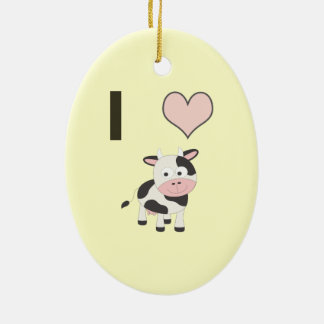 I heart cows ceramic ornament
