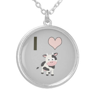 I heart cows silver plated necklace