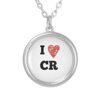 I Heart CR - Cedar Rapids Iowa Silver Plated Necklace