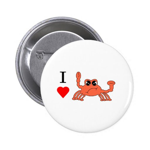 I heart Crab Pinback Buttons
