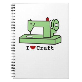 I Heart Craft- Kawaii Sewing Machine-Note Pad Spiral Notebook