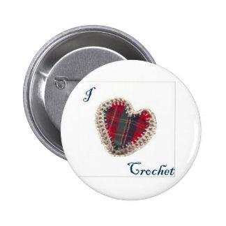 I Heart Crochet 2 Inch Round Button