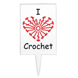 I Heart Crochet -Heart Crochet Chart Pattern Cake Picks
