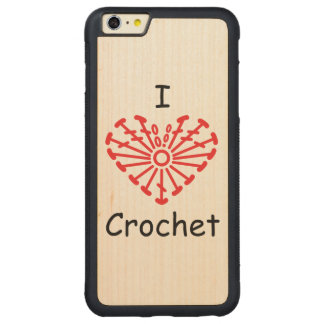 I Heart Crochet -Heart Crochet Chart Pattern Carved® Maple iPhone 6 Plus Bumper