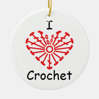 I Heart Crochet -Heart Crochet Chart Pattern Ceramic Ornament
