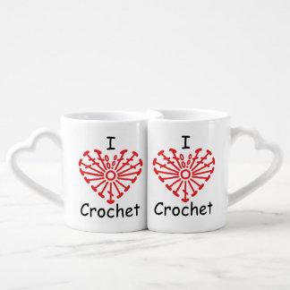I Heart Crochet -Heart Crochet Chart Pattern Coffee Mug Set