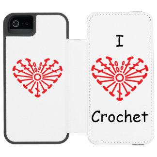 I Heart Crochet -Heart Crochet Chart Pattern iPhone SE/5/5s Wallet Case