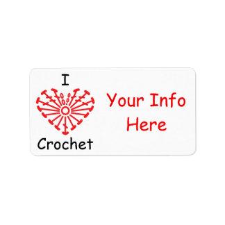 I Heart Crochet -Heart Crochet Chart Pattern Label